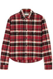 Saint Laurent Cropped checked cotton-flannel shirt