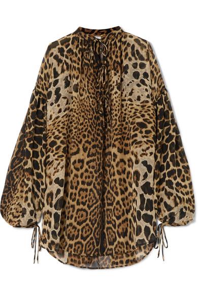 Saint Laurent - Oversized Leopard-print Silk-georgette Blouse - Leopard print