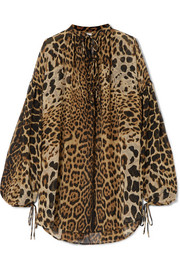 Saint Laurent Oversized leopard-print silk-georgette blouse