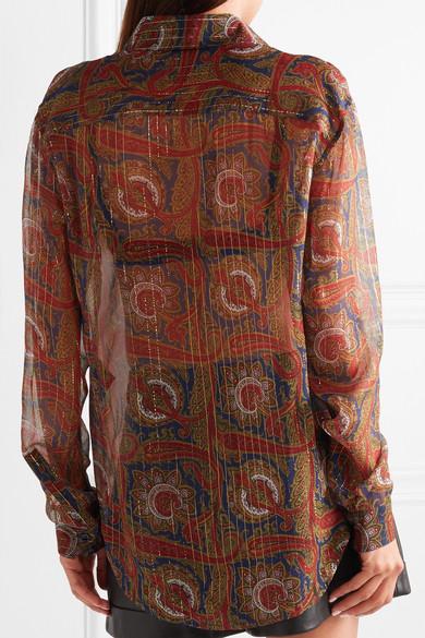 Saint Laurent Shirts Printed silk-blend chiffon shirt