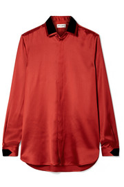 Saint Laurent Velvet-trimmed satin blouse