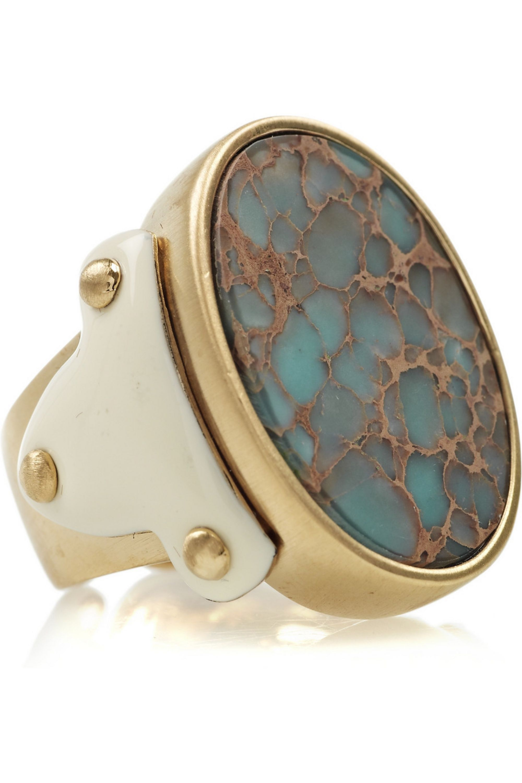 Roberto Cavalli Gold-plated jasper ring