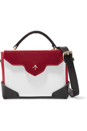 Bold color-block leather and suede shoulder bag