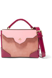 Bold color-block suede and leather shoulder bag