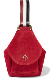 Fernweh micro leather-trimmed suede wristlet bag