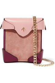 Pristine micro color-block leather, patent-leather and suede shoulder bag