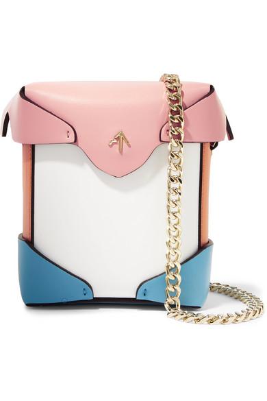 Pristine Micro Color-Block Leather Shoulder Bag, White