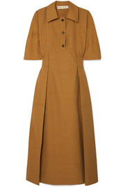Gathered canvas midi dress