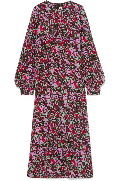 Marni - Floral-print Silk-crepe Maxi Dress - Purple