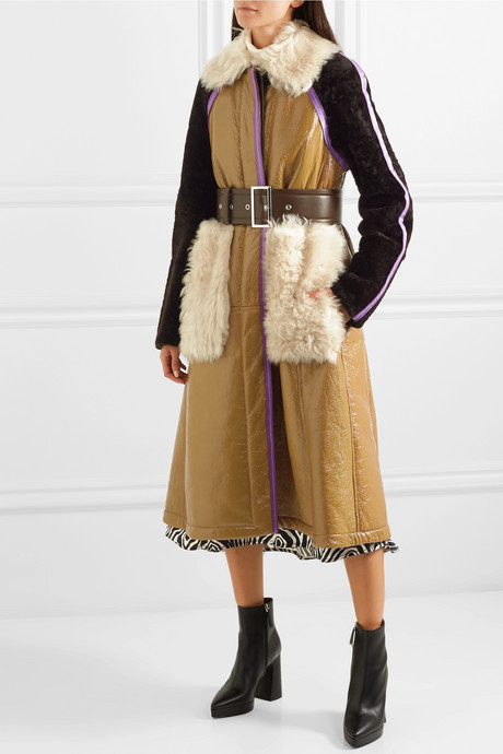 Paneled leather and shearling coat