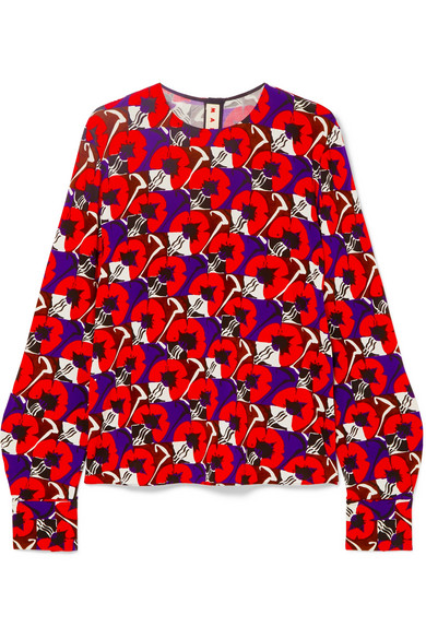 Marni - Floral-print Stretch-jersey Blouse - Red