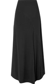 Paneled crepe de chine maxi skirt