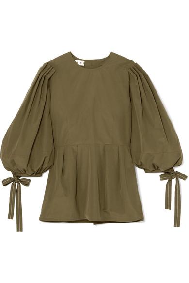 Pleated Cotton Poplin Peplum Shirt by Marni