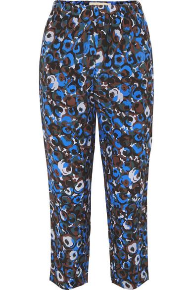 Marni Pants Printed silk-crepe slim-leg pants