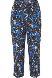 Printed silk-crepe slim-leg pants