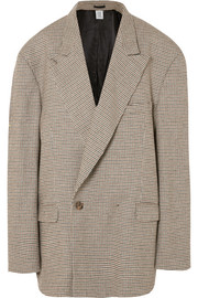 Oversized houndstooth double-breasted tweed blazer