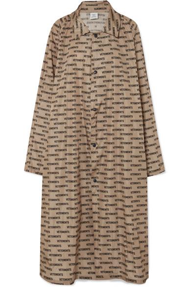 Vetements - Printed Coated-shell Raincoat - Beige