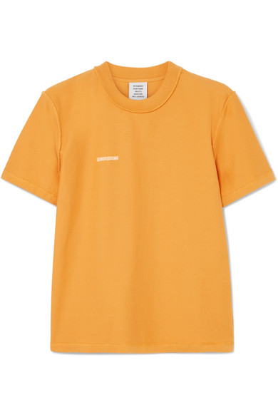 Vetements - Embroidered Cotton-jersey T-shirt - Yellow