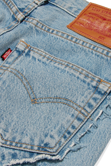 Vetements Jeans Distressed mid-rise straight-leg jeans