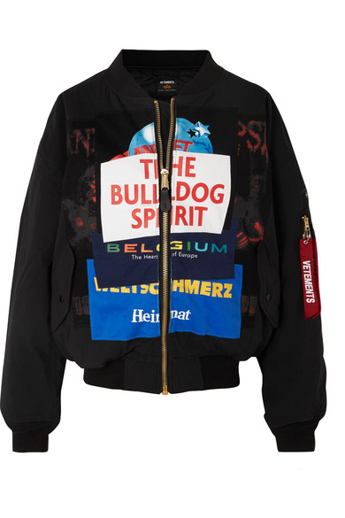 Oversized Patchwork Shell And Jersey Bomber Jacket in Black/Bulld