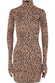 Vetements Leopard-print jersey mini dress