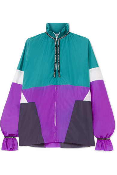 Color-Block Shell Blouse in Turquoise