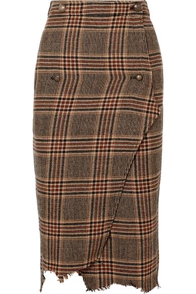 Check & Plaid Wool Handkerchief Wrap Pencil Skirt, Brown