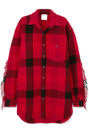 Vetements Oversized fringed checked wool-blend flannel shirt