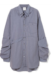 Vetements Oversized distressed checked cotton-poplin shirt