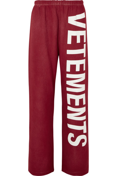 VETEMENTS PRINTED COTTON-BLEND JERSEY TRACK PANTS