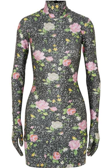 VETEMENTS Floral-Print Glove-Sleeved Jersey Mini Dress, Black