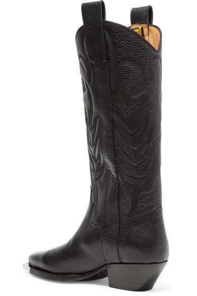 Off-White | For Walking kniehohe mit Stiefel aus strukturiertem Leder mit kniehohe Stickerei und Print 8e1e44