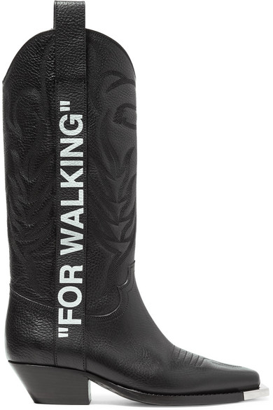 FOR WALKING EMBROIDERED PRINTED TEXTURED-LEATHER KNEE BOOTS