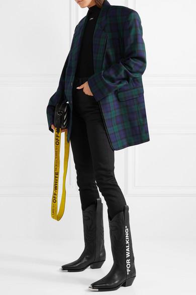 Off-White | For Walking kniehohe mit Stiefel aus strukturiertem Leder mit kniehohe Stickerei und Print 0c77e1