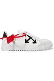Off-White Appliquéd textured-leather sneakers