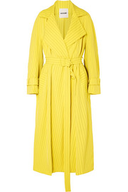 Pinstriped crepe trench coat