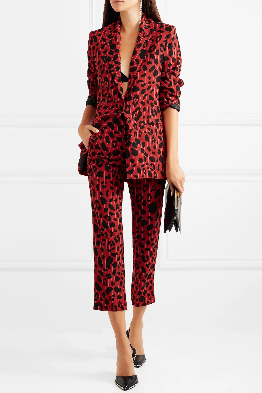 Koché Leopard-print pinstriped stretch-twill blazer