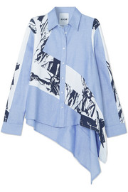 Koché Oversized asymmetric cotton-chambray and printed poplin shirt