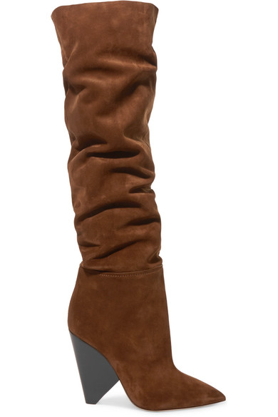 Niki Suede Over-The-Knee Boots in Brown