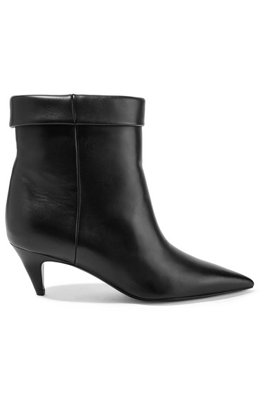 Charlotte Leather Ankle Boots in Black