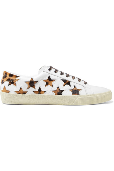 Court Classic Leopard-Print Calf Hair And Leather Sneakers in White