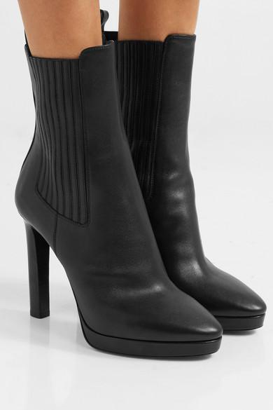 Saint Laurent Boots Hall leather platform ankle boots