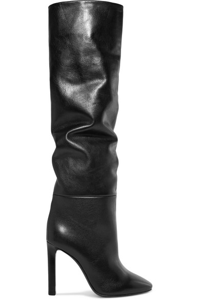 Kate Knee-High Leather Boots in Black