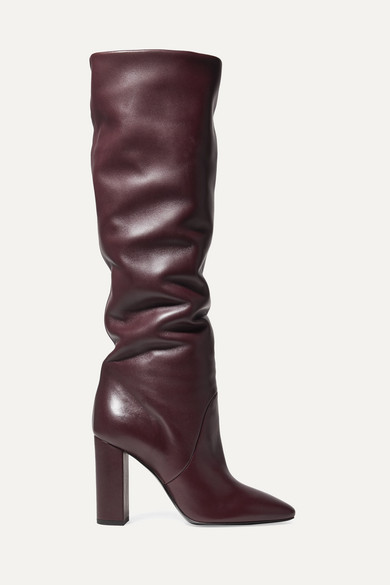 Lou Leather Knee Boots in Burgundy