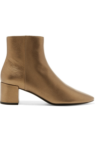 LOULOU METALLIC TEXTURED-LEATHER ANKLE BOOTS from NET-A-PORTER