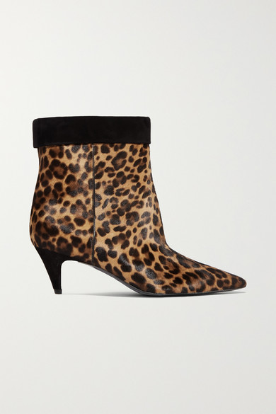 Charlotte Leopard-Print Calf-Hair Ankle Boots in Leopard Print