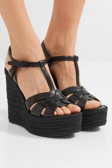 91299c3e835c Saint Laurent. Tribute leather espadrille wedge sandals