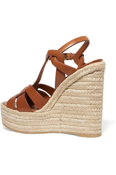 a484806f210ad SAINT LAURENT. Tribute leather espadrille wedge sandals. $695.00. Zoom In