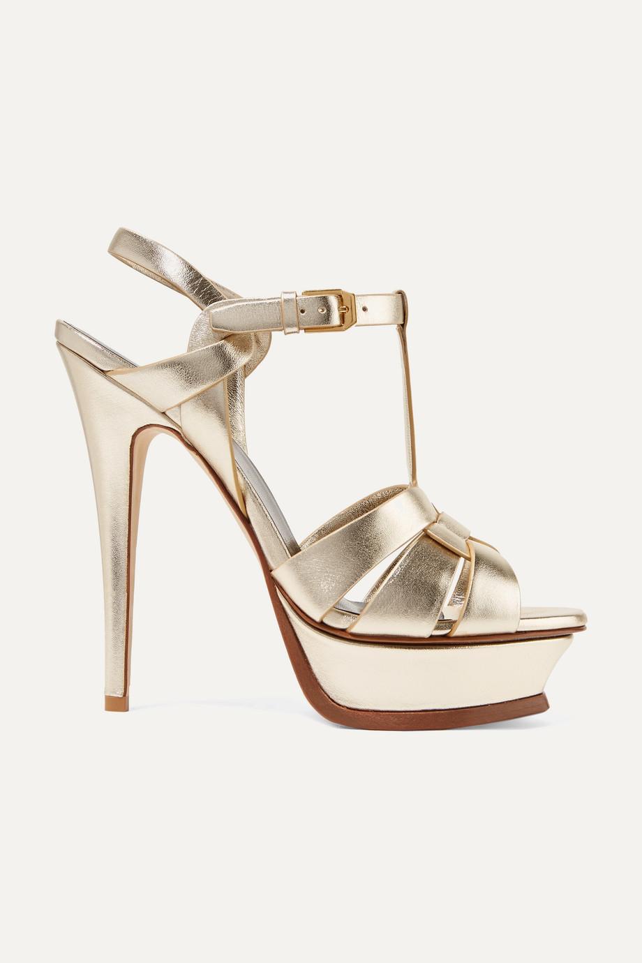 SAINT LAURENT Tribute woven metallic leather platform sandals