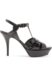 Saint Laurent Tribute croc-effect leather platform sandals